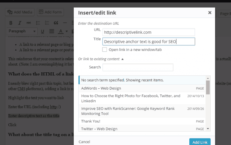 Add a link in WordPress