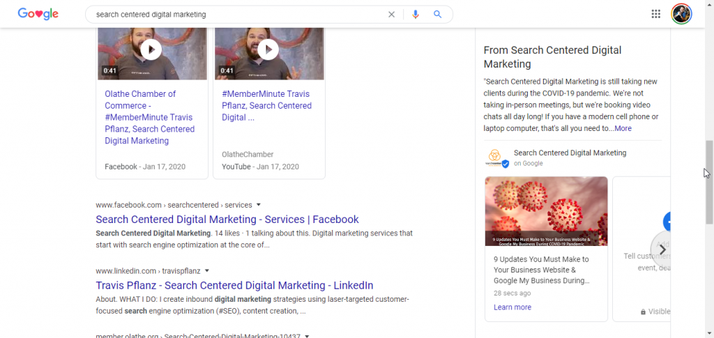 Google My Business post in search