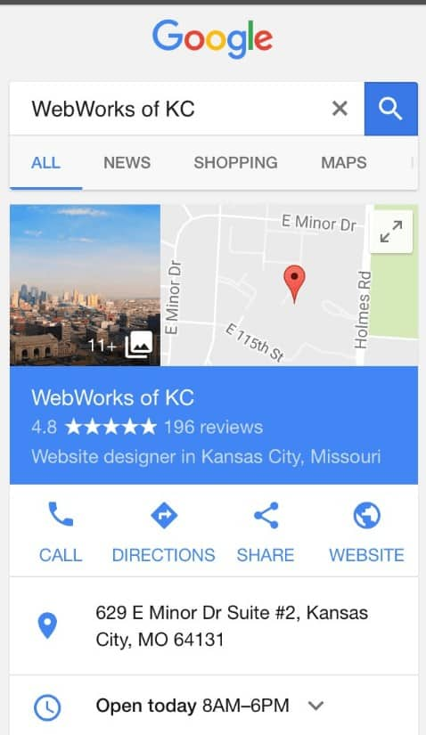 Google business search with knowledge graph